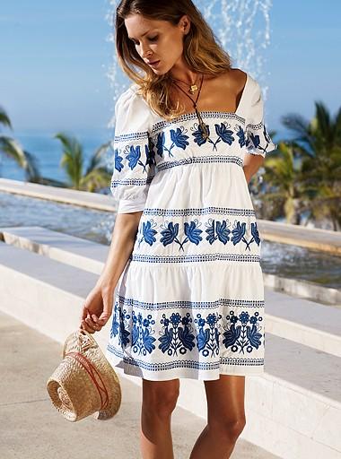 连衣裙是所有衣着款式里面长度伸缩最大的,也正因为式样上