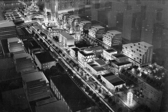边地块城市设计效果图-炼油管 变身 慢行道 企业搬迁厂房作 遗产 保护高清图片
