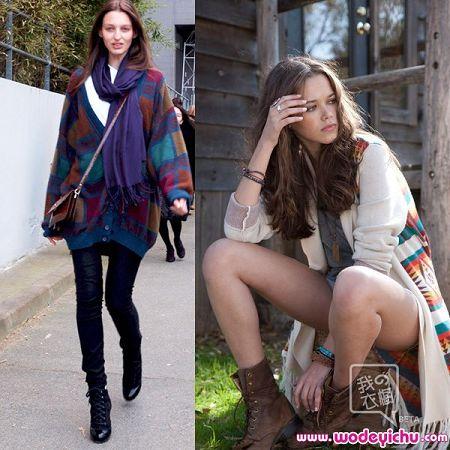秋冬来到 最新欧美街拍毛衣搭配扮酷图片