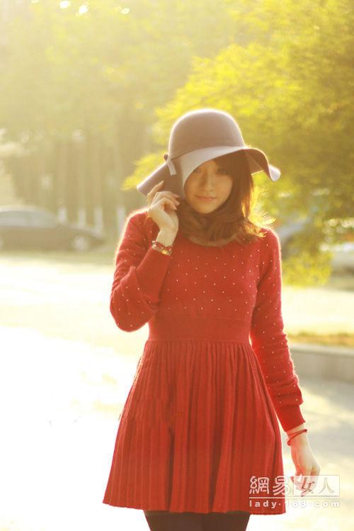 毛线连衣裙内搭外穿都精彩-学搭配,毛衣,裙子-